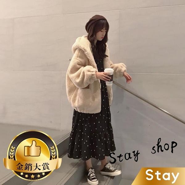 【Stay】網紅韓版寬鬆中長款連帽毛絨外套 百搭外套 上衣 女裝 衣服 外套【J111】