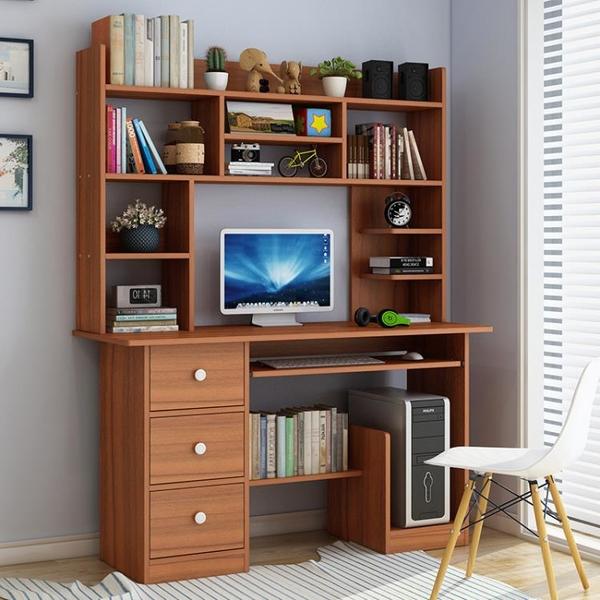 簡約現代經濟型臺式電腦桌帶書架組合學習書桌住宅書