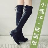 Ann'S貼腿版-小個子救星兩穿馬甲防水絨布過膝靴-黑