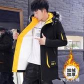 冬季男士外套中長款韓版潮流加絨加厚羊羔毛棉夾克冬天工裝風衣服 qf33011【MG大尺碼】