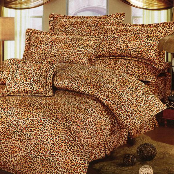 台灣製-野性豹紋 雙人特大(6x7呎)四件式鋪棉涼被床包組-咖啡色[艾莉絲-貝倫]T4HC-791-CF-L