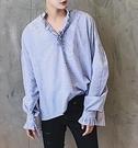 找到自己 品牌 男士V領花邊中性同款藍白細條紋全棉襯衫