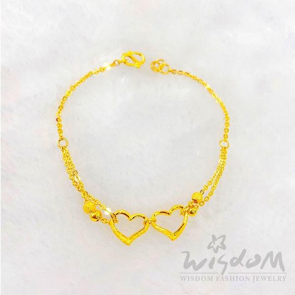 威世登 黃金心型手鍊 約1.37~1.39錢 GC00207-AAXX-FIX