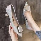 2021年新款尖頭方扣仙氣單鞋女細跟低跟秋季性感宴會高跟鞋伴娘鞋 快速出貨