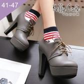 大尺碼女鞋-凱莉密碼-明星款好穿防水台綁帶粗跟高跟踝靴12cm(41-47)【HLT-29】灰色