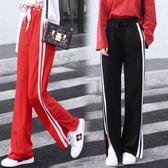 夏季運動褲女學生韓版寬鬆原宿褲子百搭休閒褲長褲         伊芙莎