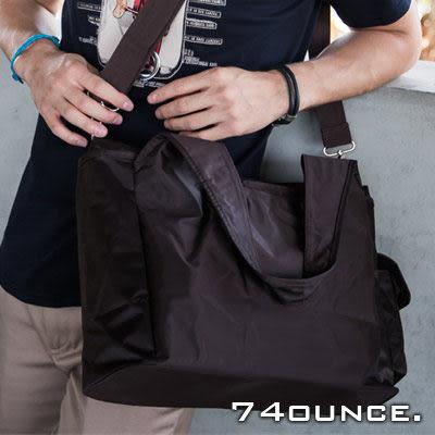 74盎司[TG-002]超實用無印良品風格簡約設計肩背/側背包(黑/咖啡色)(手拿)
