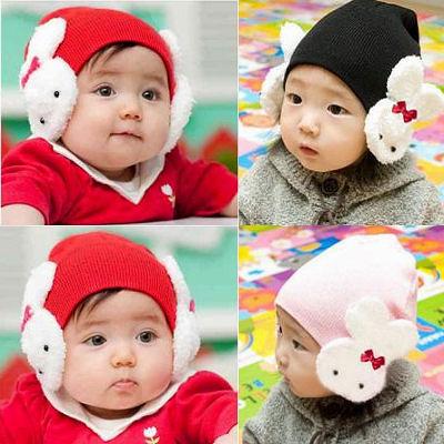 【HX036】shiny藍格子-兒童寶寶棉線兔子護耳帽