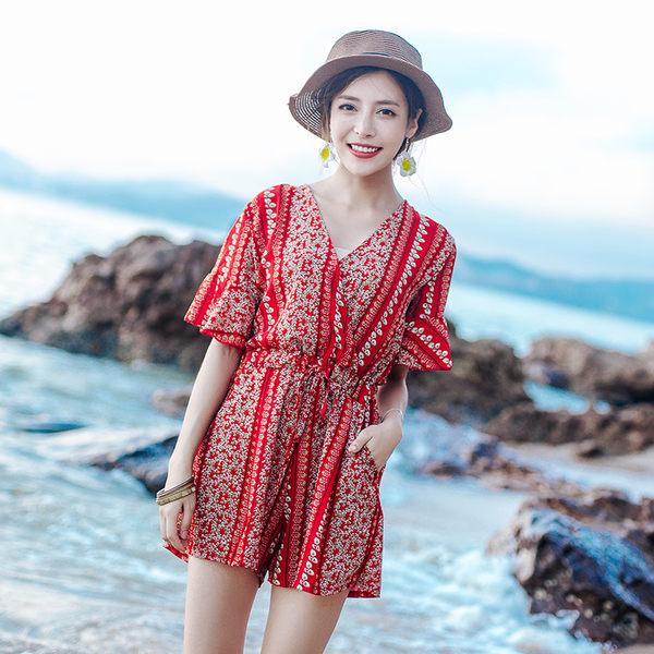 梨卡 - 夏季波西米亞V領印花花朵縮腰寬鬆沙灘雪紡連身短褲褲裙C6221