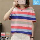 【V2917】shiny藍格子-多彩鮮豔.條紋配色圓領短袖上衣