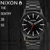 NIXON 實體店THE SENTRY 38 SS潮流腕錶BLACK / WHITE公司貨A450-005/極限運動