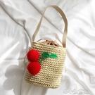韓國Coolgirl草編水桶包櫻桃編織挎包單肩包沙灘包度假草編包 洛小仙女鞋