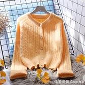 橘色毛衣外套女短款寬松外穿2020新款韓版春秋百搭長袖針織開衫 美眉新品