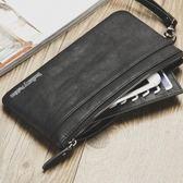 新款復古錢包男長款錢夾男士拉鍊超薄青年復古手包軟皮錢夾手機包   東川崎町
