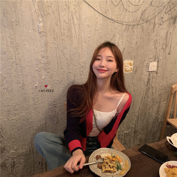 VK精品服飾 韓國風復古撞色針織單品外套
