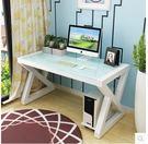 H-創意桌子辦公寫字臺家用電腦桌臺式桌鋼化玻璃辦公桌簡約現代書桌(100*60CM)
