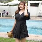 大碼泳衣遮肉胖mm連身遮肚顯瘦泡溫泉新款時尚保守大胸游泳衣女夏 小艾新品