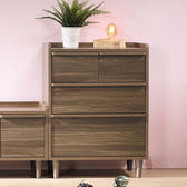 【森可家居】小空間胡桃色抽屜收納櫃 8JX482-3 置物櫃 木紋質感 無印北歐風
