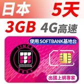 【TPHONE上網專家】日本 SOFTBANK 高速上網卡 5天無限上網 前面3GB 走4G高速