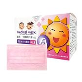 富璟 一般醫用口罩 中大童(未滅菌/雙鋼印)-粉紅(50入/盒裝)
