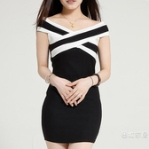 修身洋裝一字肩黑色短版小禮服宴會晚裝深V洋裝露背小洋裝