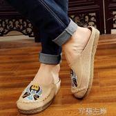 繡花鞋 夏老北京布鞋男時尚刺繡拖鞋臉譜男士潮流韓版個性包頭繡花涼拖鞋 芊墨左岸