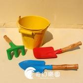 包郵加厚兒童沙灘玩具套裝大號鐵質桶鏟子寶寶挖玩沙戲水園藝工具-奇幻樂園