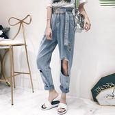 高腰牛仔褲女夏新款褲子時尚韓版寬鬆直筒褲破洞乞丐褲 腰帶     芊惠衣屋