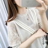 針織衫 鏤空短袖t恤女夏天2020年新款冰絲寬鬆蕾絲袖上衣潮ins百搭 OO12663『黑色妹妹』