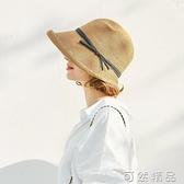 赫本風草帽女小清新夏季韓版時尚潮大遮陽帽防曬可摺疊太陽涼帽子 雙12全館免運