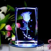 水晶3D內雕玫瑰花音樂盒 發光旋轉生日禮物送女朋友 BF19920【艾菲爾女王】