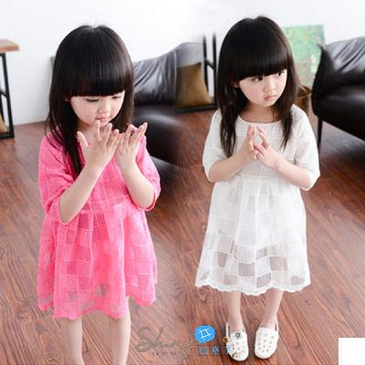 【R0068】shiny藍格子-嬰幼館. 春裝新款女童歐根紗蕾絲短袖連身裙