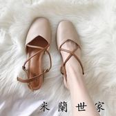 奶奶鞋中跟方頭女鞋包頭涼鞋粗跟高跟鞋
