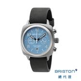 *BRISTON 熊貓錶 天藍色錶盤 黑色皮錶帶 不銹鋼框 百搭實用 男士經典款 禮物首選