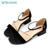 Bo Derek 一字斜帶繫踝低跟涼鞋-黑色