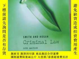 二手書博民逛書店英文原版罕見Smith and Hogan Criminal Law, 12th Edition by J. C.