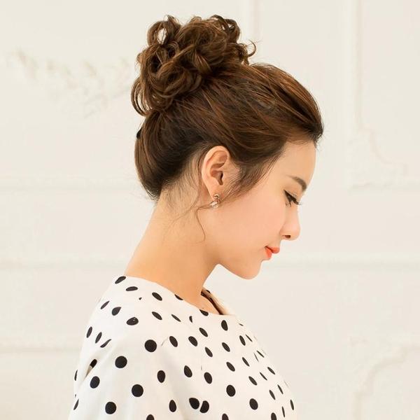 限定款假髮 韓系假髮女真髮髮圈橡皮筋髮包盤髮拉花小丸子花苞女頭花蓬鬆捲髮髮圈