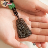 祥龍喜樂-天然冰種黑曜石彌勒佛項鍊(質感)《含開光》財神小舖【DSP-7606-3】