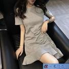大碼洋裝 修身款短袖魚尾連身裙2020夏裝新款復古港風顯瘦抽繩荷葉邊桔梗裙 3C數位百貨