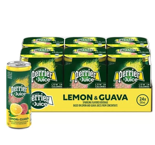 【 現貨 】Perrier 沛綠雅 氣泡綜合果汁 檸檬芭樂口味 250毫升 X 24入