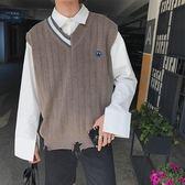 店長推薦V領刺繡針織衫背心寬鬆男士線衫毛衣潮