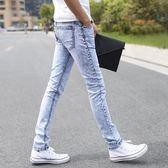 【免運】牛仔褲 雪花灰白淺色牛仔褲男夏季 休閒男褲子小腳褲修身韓版潮流