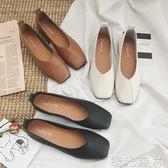 豆豆鞋 平底單鞋女夏韓版時尚方頭平底奶奶鞋淺口百搭單鞋豆豆鞋 綠光森林
