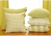 小清新簡約時尚棉綠色格子抱枕 腰枕 靠背枕