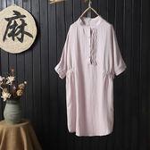 亞麻 日系蕾絲顯瘦縮腰洋裝-大尺碼 獨具衣格