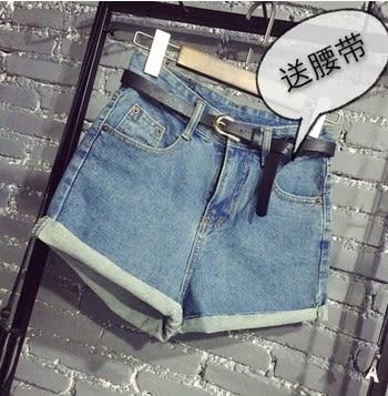 EASON SHOP(GU5400)送腰帶韓國復古水洗淺藍高腰牛仔短褲女夏季修身顯瘦卷邊熱褲A字