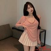 粉色T恤女裝秋季慵懶風寬松V領系帶性感長袖上衣【CH伊諾】