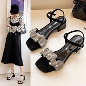 涼鞋女 2021年夏新款水鑽涼鞋女方頭一字帶粗跟露趾中跟仙女羅馬鞋ins潮【快速出貨】