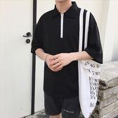 找到自己品牌 時尚潮流 男 黑白撞色拉鏈 寬鬆POLO衫 短袖T恤上衣 翻領上衣短T