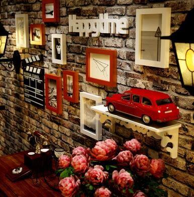 木照片牆客廳臥室背景牆裝飾相框組合歐式時尚創意相框牆